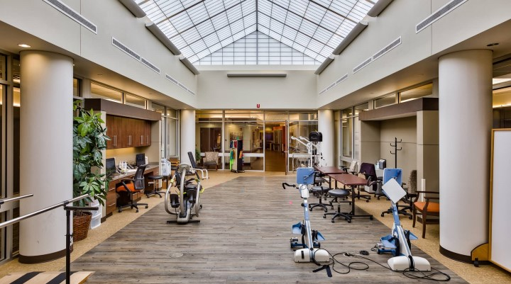 Inside of Ignite Medical Resort, with exercise equipment